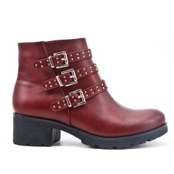 Red ankle boot with studded flange