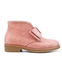 Pink ankle boot with bow suede
