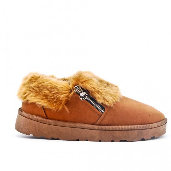 Women's lined slipper with zipper