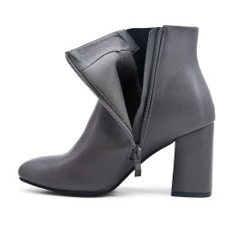 Gray boot in imitation leather with heel