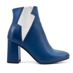 Blue boot in imitation leather with heel