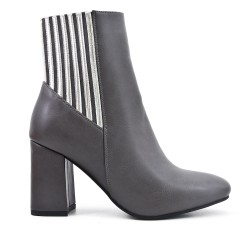 Gray imitation leather boot with elastic detail
