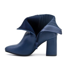 Blue imitation leather boot with elastic detail