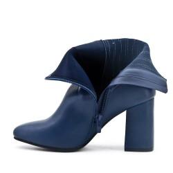 Botte bleu en simili cuir à détail élastiqué