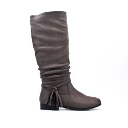 Gray boot in faux suede with pompom