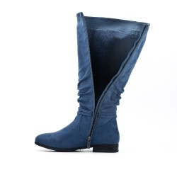 Blue boot in faux suede with pompom
