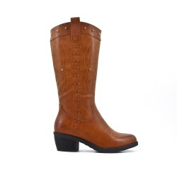 Camel embroidered boot in faux leather
