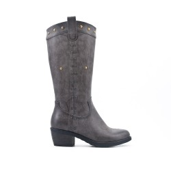 Gray embroidered boot in faux leather