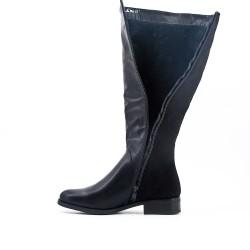 Bi-material black boot