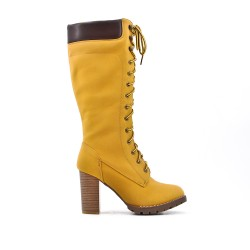 Camel faux leather boot with lace