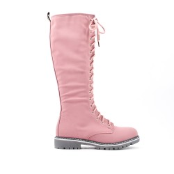 Pink faux leather boot with lace