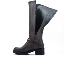 Gray imitation leather boot with flange