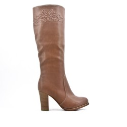 Khaki boot in imitation leather with heel