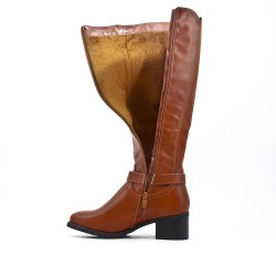 Camel imitation leather boot with elasticated back panel
