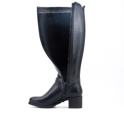 Black imitation leather boot with elasticated back panel