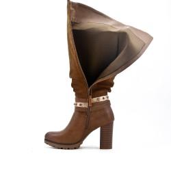 Bi-material brown boot with heel