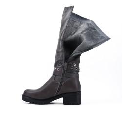 Bi-material gray boot with heel