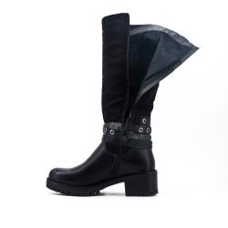Bi-material black boot with heel