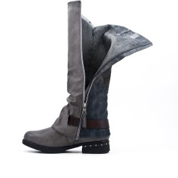 Gray leather boot