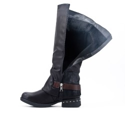 Black imitation leather boot with flange