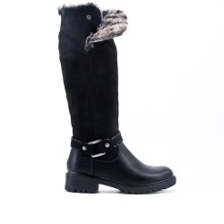 Black boot with stuffed shaft