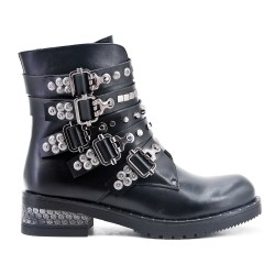 Black ankle boot with studded flange