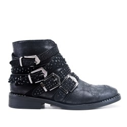 Black ankle boot with rhinestone straps