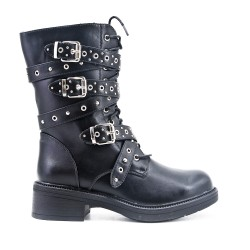 Black imitation leather ankle boot with studded strap and lace