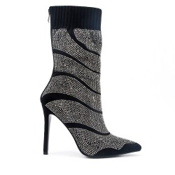 Black boot with high heel rhinestones