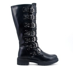 Studded black ankle boot