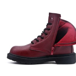 Red leatherette lace-up ankle boot