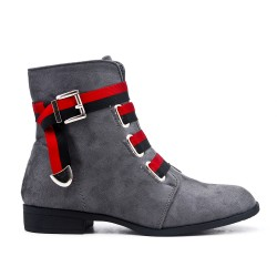 Gray imitation leather ankle boot