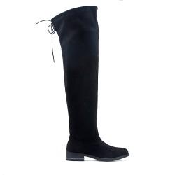 Black boot in black suede