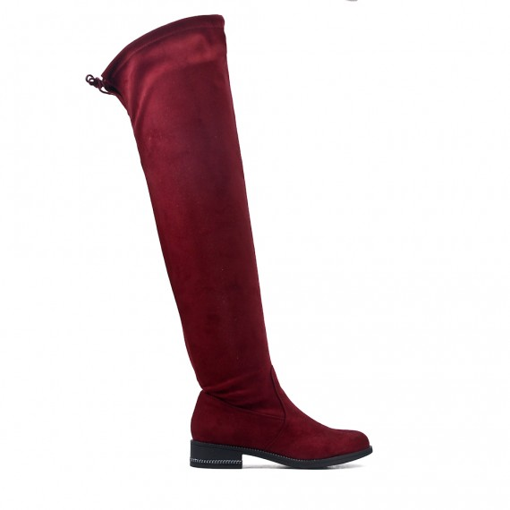 grossiste 54b29 8f5df Botte cuissarde rouge en simili daim