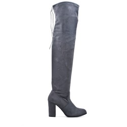 Gray thigh high boots with buckskin