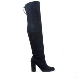 Black thigh high boots with buckskin