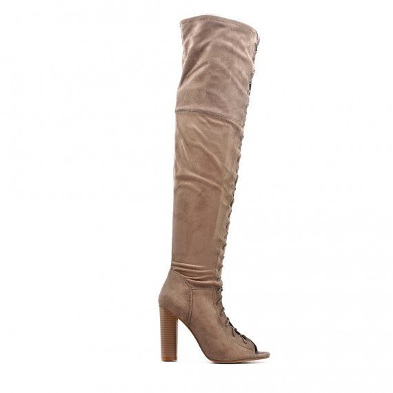Khaki thigh high boots with buckskin