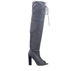 Botas altas hasta el muslo gris con gamuza