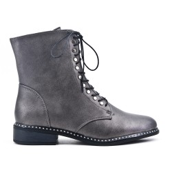 Gray boot in faux leather lace