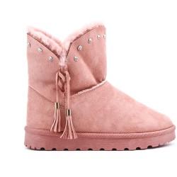 Botín rosa con una suela adornada con pedrería