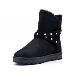 Black ankle boot with rhinestone strap