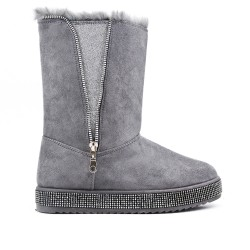 Gray ankle boot with sole and rhinestones