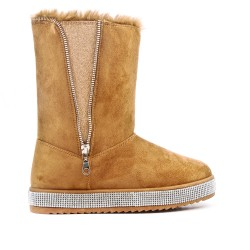 Camel ankle boot with sole and rhinestones