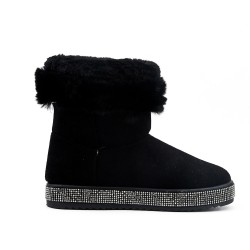 Black ankle boot with a sole embellished with rhinestones