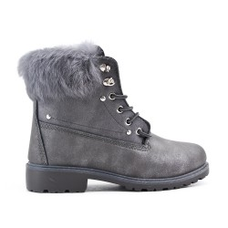 Gray lace boot with rhinestones