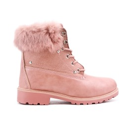 Pink lace boot with rhinestones