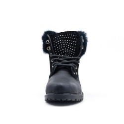 Black lace boot with rhinestones