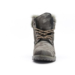 Green military lace-up boot with rhinestones