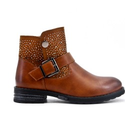 Camel boot with rhinestone detail