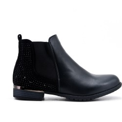Black elasticated ankle boot with rhinestone detail